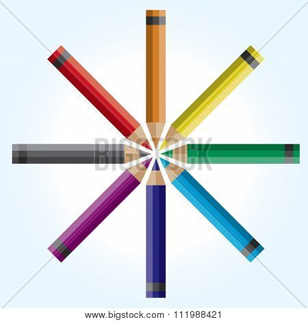Wheel Of Colored Pencils Illustration