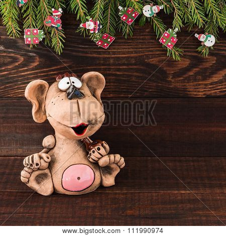 New Year 2016. Monkey And Christmas Tree On Wooden Background. Copy Space