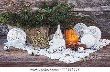 Christmas Composition With Christmas Tree, Gnome, Christmas Balls. Toned