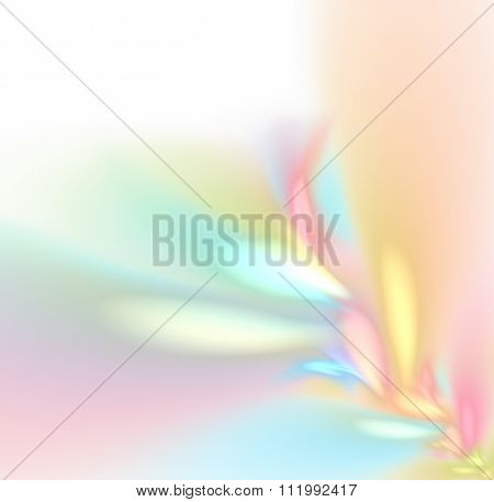 White Abstract Background With Rainbow Pastel - Rose, Yellow, Orange, Turquoise, Purple - Texture, F