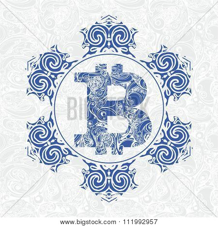 Snowflake And Symbol Bitcoin On Seamless Background Pattern For Your Design