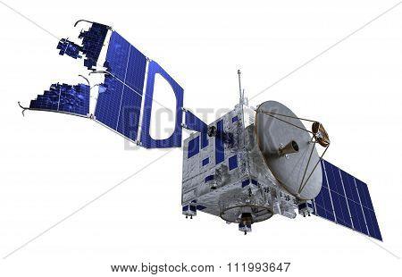 Crashed Satellite Over White Background.