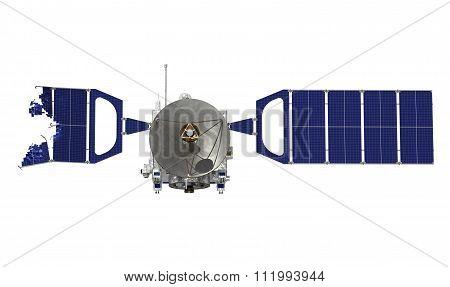 Crashed Satellite On White Background