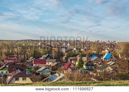 city in the spring evening