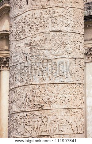 Closeup of Trajan's Column relief. Piazza Venezia. Rome. Italy