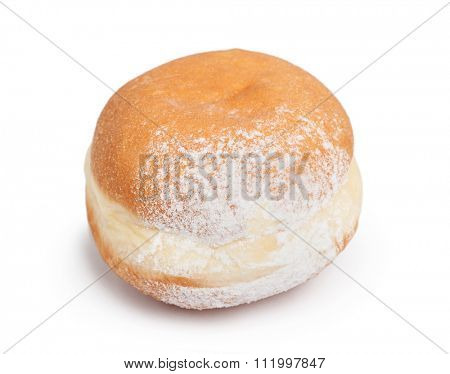 German doughnut berliner with icing sugar isolated