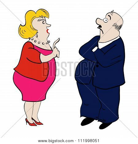 Arguing Couple. Woman And Man. Vector Illustration.