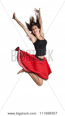 Young woman in the high jump