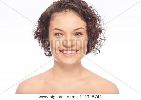 Happy young  lady is smiling.