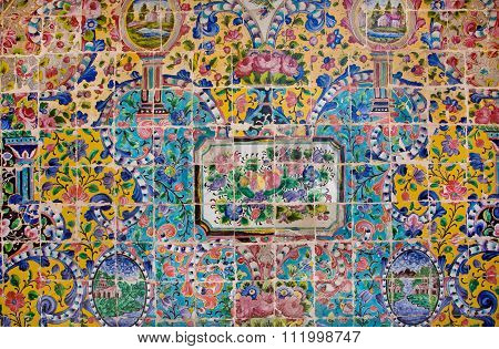 Floral Pattern On A Crumbling Tile Of Beautiful Persian Palace In Iran