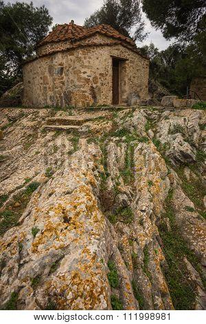 The Tiny Byzantine Church On The Rock In Vravrona