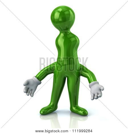 Illustration Of Thinking Green Man With Wrong Idea
