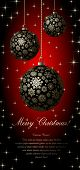 image of christmas star  - Merry Christmas card with golden ball and space for text - JPG