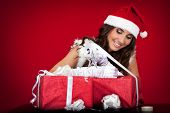 Santa Girl, Presents, Wrapping, Ribbon