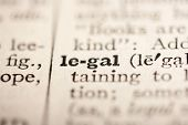 picture of pronunciation  - Word legal from the old dictionary a close up.