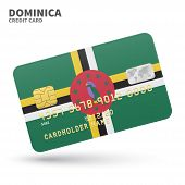 Постер, плакат: Credit card with Dominica flag background for bank presentations and business Isolated on white