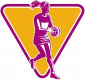 pic of netball  - illustration of a netball player ready to pass ball with shield or triangle in the background - JPG