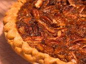 image of pecan  - homemade pecan pie fresh from the oven - JPG