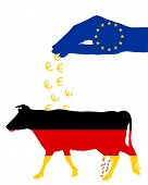 image of cash cow  - Detailed and colorful illustration of german cow and european subsidies - JPG