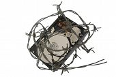 picture of mutilated  - one hard disc safe with prickly wire - JPG