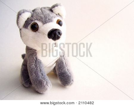 Small Gray And White Plush Dog