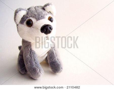 Small Gray And White Plush Dog