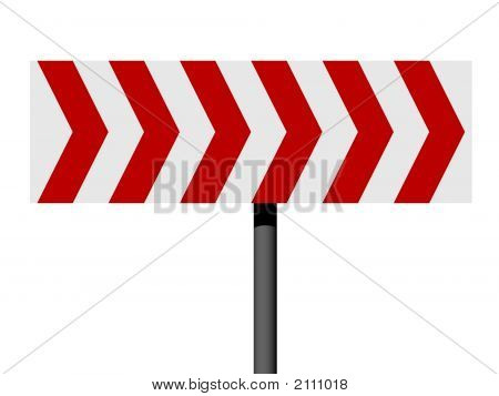 Señal de dirección de rojo y blanco