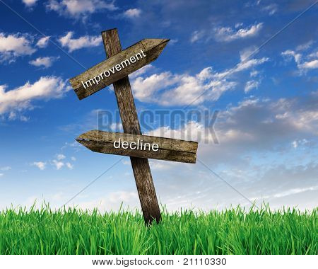 two wooden roadsigns with words improvement and decline on them against blue sky