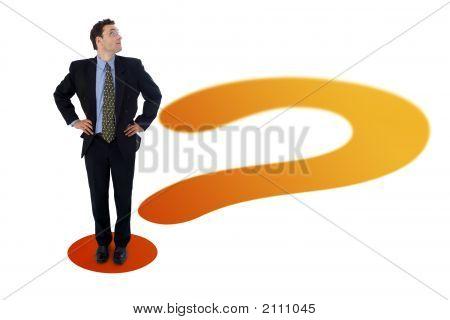 Businessman On Question Mark