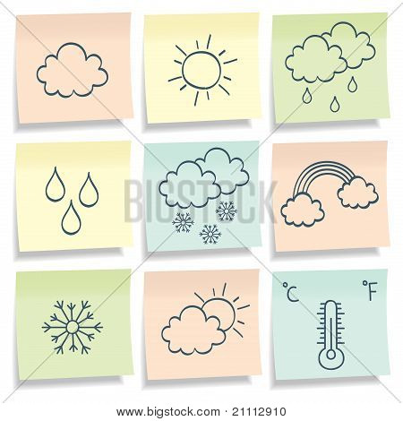 Notes With with weather simbols. Vector illustration.