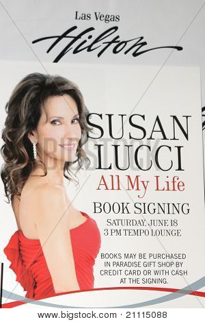"LAS VEGAS - JUN 18:  Susan Lucci Poster at the booksigning for ""All My Life"", her autobiography at Hilton Hotel on June 18, 2010 in Las Vegas, NV."
