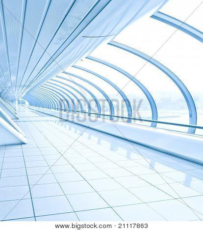 blue vanishing transparent hallway inside contemporary airport, transportation background