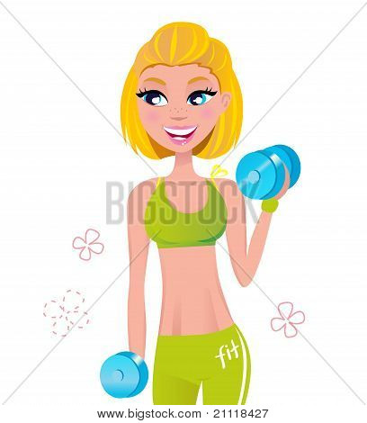 Beautiful Fit Blond Hair Woman Exercising With Two Dumbbell Weights .
