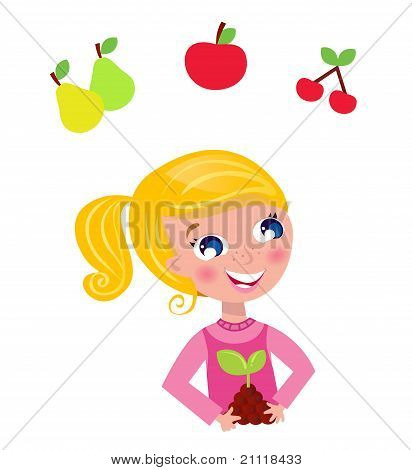 Cute Little Gardener Child With Plant And Fruit Isolated On White.