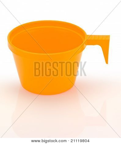 Plastic Cup Isolated On White With Clipping Path.