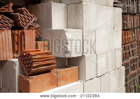 Construction Blocks In A Pile