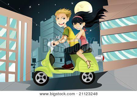 Pareja montando motos