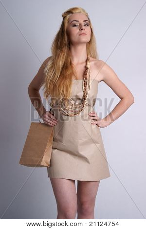Model wearing eco friendly fashion