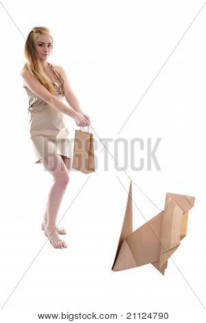 Woman with her eco pet pulling her