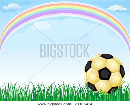 Gold Soccer Ball And Rainbow