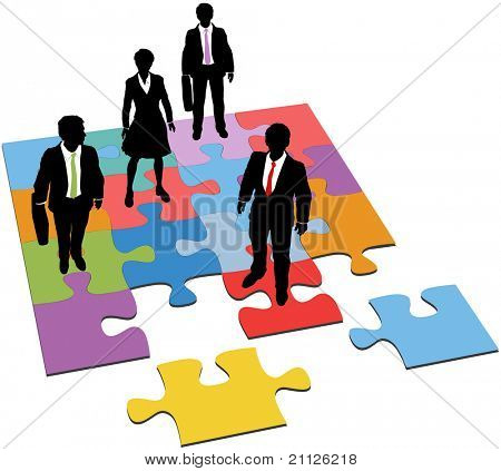 Business people team stand on puzzle as a solution to human resources management need