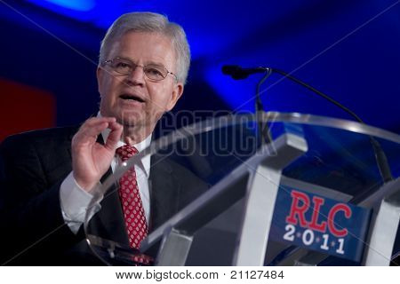 NEW ORLEANS, LA - JUNE 18: Presidential candidate Buddy Roemer addresses the Republican Leadership Conference on June 18, 2011 at the Hilton Riverside New Orleans in New Orleans, LA.