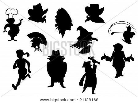 Set Of Cartoon Silhouettes