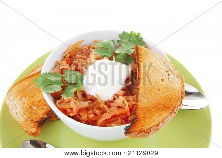 image of vegetable soup in big white bowl