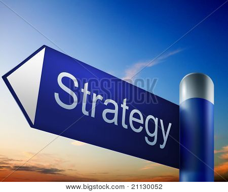 blue road sign with word Strategy on it