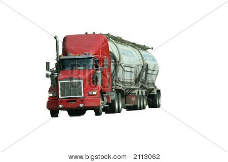 Red Truck On Highway, Isolated