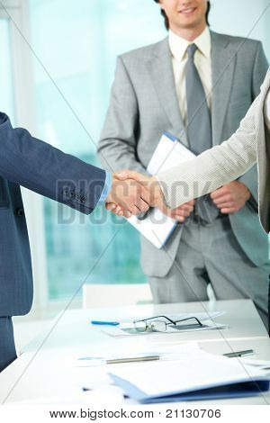 Photo of handshake of business partners after striking deal on background of elegant man
