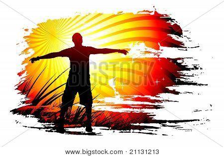 Young Man Raising His Hands