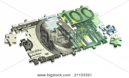 Collected puzzle with the image of dollar and euro. Isolated over white