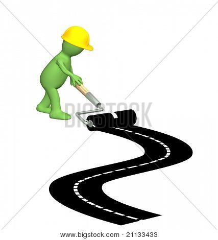 Puppet, making a new road. Isolated over white